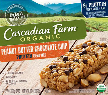 Cascadian Farms Chewy Protein Bars Peanut Butter Chocolate Chip-5 Bars