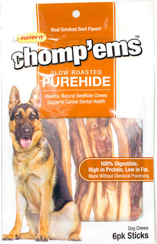 Ruffin'It Chomp'ems Slow Roasted PureHide Sticks-6 Stick Bag