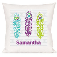 Personalized Feather Design Accent Pillow