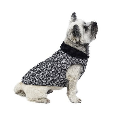 Scooter's Friends Madison Avenue Dog Coat, Black and White Tweed