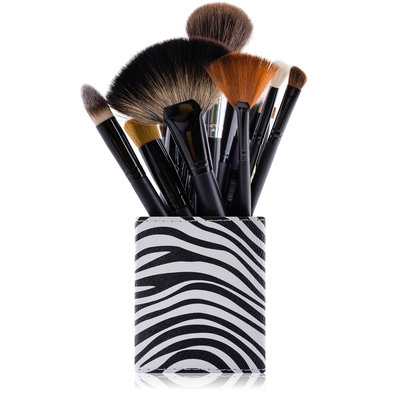 SHANY Cosmetics 2-in-1 Patterned Makeup Brush Holder with Removable Cosmetics Organizer Insert - Sassy Zebra