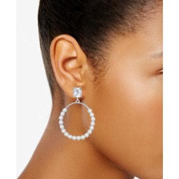 Silver-Tone Imitation Pearl & Crystal Drop Earrings