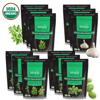 Simply Beyond, Organic Fresh Frozen Herbs, Starter Kit ( 3 each of Basil, Garlic, Parsely, Italian Mix) 1.76oz to 2.64oz, 12 Pack