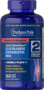 Puritans Pride Triple Strength Glucosamine, Chondroitin MSM Joint Soother-360 Caplets
