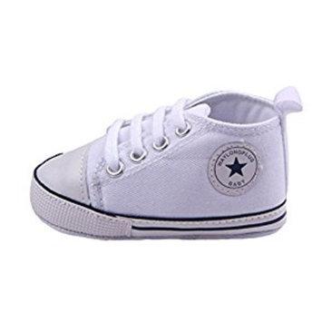 WAYLONGPLUS Infant Cute Canvas Sneaker Toddler Prewalker Anti-skid Soft Trainer Shoes (White, Size 13)