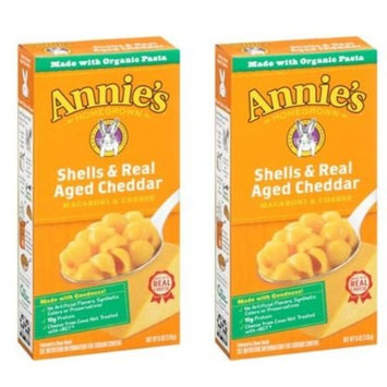 Annie's Homegrown Totally Natural Shells & Real Aged Cheddar Mac & Cheese, 6-Ounce Boxes (Pack of 2)