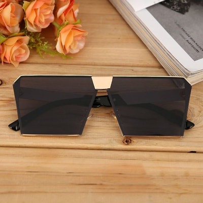 Popular New Design Oversize Frame Sunglasses Resin Lens Mirror Fashion Style Lady Gentlemen Cool Protect Eyes Glasses Unisex,Gold Frame with Gray Lens