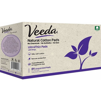 Veeda Ultra Thin Pads with Wings, Natural Cotton, Hypoallergenic, Unscented 84 Count [Ulta Thin Pads]