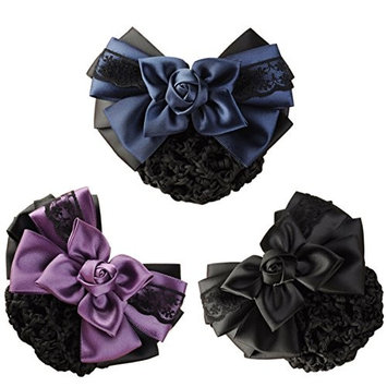 LiveZone (Pack of 3) Women Hair Bun Cover Net Snood Hairnet Bowknot Decor Barrette Hair Clip Bow Lace Flower Hair Accessories ,3 Color-Black & Blue & Purple