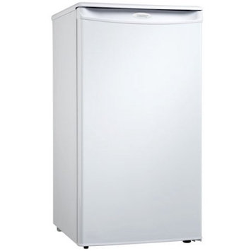 Danby DCR34W White 3.2 Cubic Foot Compact Refrigerator with Mechanical Thermostat and 2.5 Wire Shelves DCR34