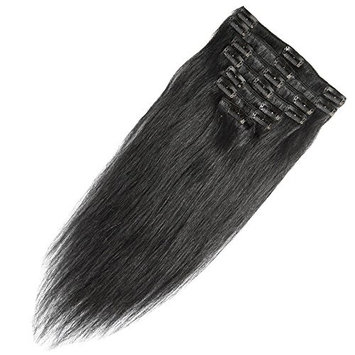 13 inch 80g Clip in Remy Human Hair Extensions Full Head 8 Pieces Set Short length Straight Very Soft Style Real Silky for Beauty #2 Dark Brown []