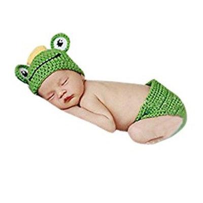 SMARSTAR Lovely Baby Girls Boy Newborn Knit Crochet Frog Costume Infant Hat Photo Prop Outfit