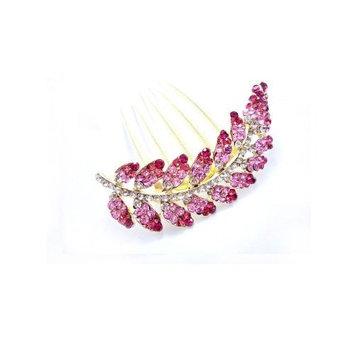 Leaves style hair jewelry elegant handmade diamond comb/hairdisk YHQ1162,pink