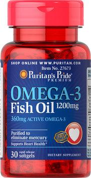 Puritan's Pride Omega 3 Fish Oil 1200 mg (360 mg Active Omega-3)-30 Softgels