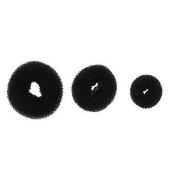 Baoblaze 3 Piece Donut Hair Bun Maker, (1 Small, 1 Medium, 1 Large) - black