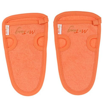 Homyl Pack of 2 Soft Double Side Bath Towel Shower Skin Deep Cleaning Mitt Exfoliating Body Wash Gloves Scrubber - Orange