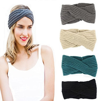 Flyusa Women's Bohemian Twist Knitted Crossed Hair Band Winter Warm Crochet Headband Head Wrap Hair Accessories