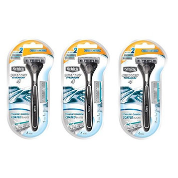 Schick Quattro Razor & Cartridges, Titanium Coated Blades, 1 Razor, 2 Cartridges (Pack of 3) + FREE Travel Toothbrush, Color May Vary