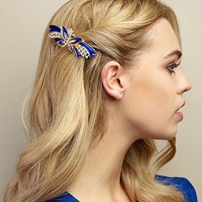 Vintage Hair Clip Enamel Hair Clip Enamel Barrette Gold Butterfly Hair Clip Vintage Hair Clip for Wedding Rhinestone Barrette Crystal Barrette Diamante Hair Clip