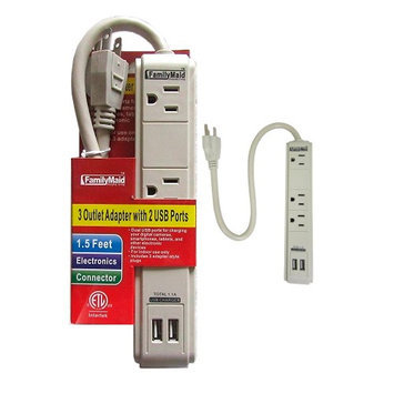 Atb 3 Outlet Surge Protector Dual 2 USB Charging Ports Power Socket Strip Adapter