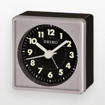 Seiko QHE083SLH Silver Tone and Black Analog Travel Alarm Clock