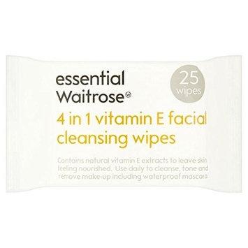 Essential 4 in 1 Cleansing Wipes Vitamin E Waitrose 25 per pack