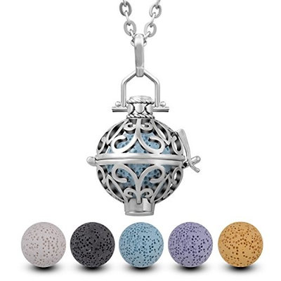 INFUSEU Lava Stone Essential Oil Diffuser Necklace Fleur De Lis Aromatherapy Pendant Jewelry + 5PCS Lava Rock for Women Gift set