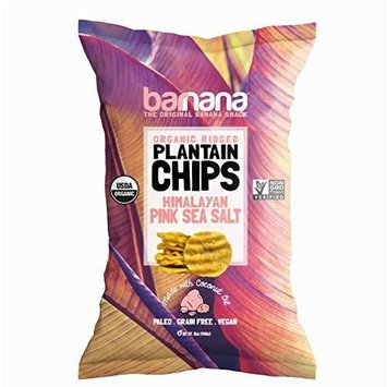 Barnana Organic Plantain Chips - Himalayan Pink Salt - 5 Ounce, 8 Pack Plantains Salty, Crunchy, Thick Sliced Snack - Best Chip For Your Everyday Life - Cooked in Premium Coconut Oil [Pink Salted]