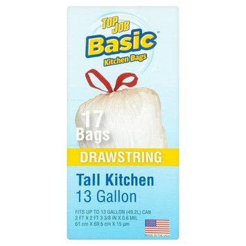 Basic Top Job Drawstring Tall Kitchen Bags, 13 gallon, 17 count