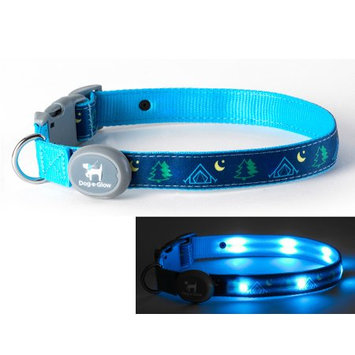 Dog-e-glow Light Up LED Dog Collar - Patented Light Up Durable Glowing Collar for Puppies and Dogs - by Dog e Glow (Camping, Large 15