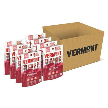 Vermont Smoke & Cure Mini Meat Stick Go Packs, Pork, Antibiotic Free, Gluten Free, Spicy Italian, Six 0.5oz Sticks Per Pouch, Pack of 8 Pouches