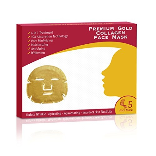 For ALL Skin Types | 4 in 1 24k Gold Collagen Korean Face Mask | nti Aging, Deeply Moisturizing, Rejuvenating, Whitening & Firming Effects- 10x Absorption