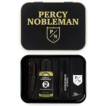 Beard Grooming Kit by Percy Nobleman, A Travel Tin Including a Beard Oil, Beard Comb, Styling Wax and Percy Nobleman Badge