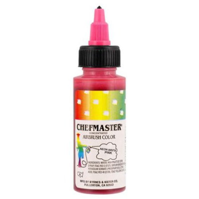 Chefmaster 2-Ounce Neon Brite Pink Airbrush Cake Decorating Food Color