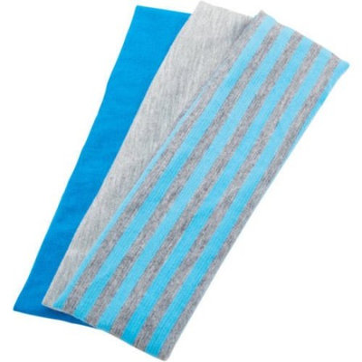 Goody Ouchless Wide Blue/Gray Striped Headwraps, 3 count