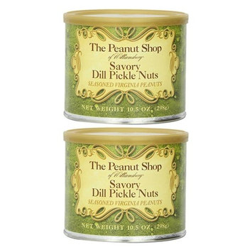 The Peanut Shop of Williamsburg Savory Dill Pickle Nuts, 10.5-Ounce Tin (Pack of 2)