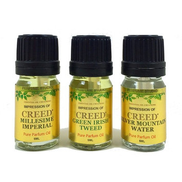 Perfume Studio oil IMPRESSION of Creed* Perfume: 3 Piece Bundle of Silver Mountain Water, Millesime Imperial & Green Irish Tweed, 5ml Euro Dropper/Dabber Bottle (VERSION/TYPE OIL; Not Original Brand)