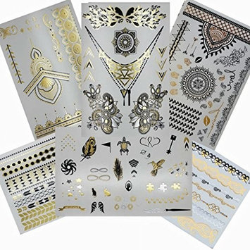 Henna Metallic Flash Temporary Tattoo (6 Sheets) Gold Silver and Black Jewelry Tattoos