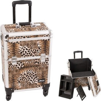 Leopard Pattern Interchangeable Professional Rolling Cosmetic Makeup Train Case by Sunrise Cases