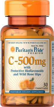 Puritan's Pride Vitamin C-500 mg with Protective Bioflavonoids and Wild Rose Hips-30 Coated Caplets