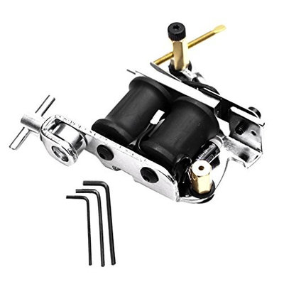 Baoblaze Silver Tattoo Motor Supply with 3 Adjustable Grips for Beginer, Liner Shader Machine with 10 Coils Tattoo Accessories Kit