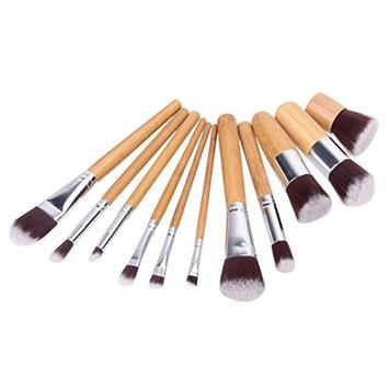 11 Pcs Makeup Brushes Set Powder Eyeshadow Contour Make Up Tool Professional Natural Beauty Palette Vanity Pleasure Popular Eyes Faced Colorful Rainbow Hair Highlights Glitter Teens Travel Kit