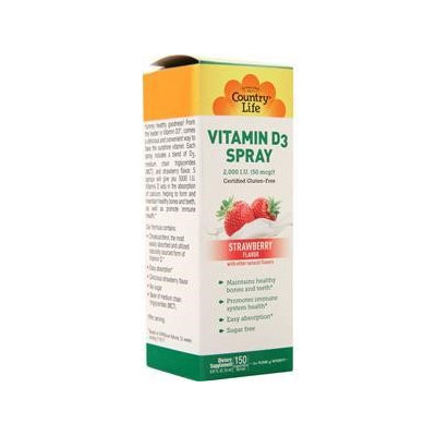 Vitamin D3 2,000 IU Strawberry Flavor Country Life 0.81 fl oz (150 Inge Spray
