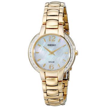 Seiko SUP258 Women's Core Solar Classic MOP Dial Yellow Gold Steel Diamond Watch