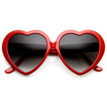 zeroUV - Large Oversized Womens Heart Shaped Sunglasses Cute Love Fashion Eyewear - 52mm