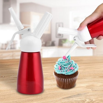 250mL Whipped Butter Dispenser, Estink Portable Aluminum Whipped Dessert Cream Butter Whipper Foam Maker with Cleaning Brush and 3 Nozzles(Red)