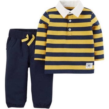 Child of Mine by Carter's Newborn Baby Boy Collared Shirt and Pants Set