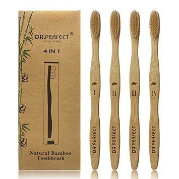 Dr.Perfect Natural Bamboo Toothbrush [4-Pack] Medium Soft Natural Bristles Individual Sealed Bag Packing (Beige)