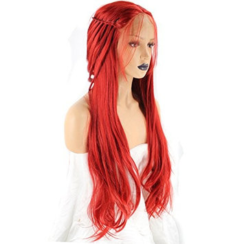 Anogol Hair Cap+Long Straight Braided Synthetic Red Lace Front Wig With Baby Hair Middle Part For Princess Wigs Hairstyles
