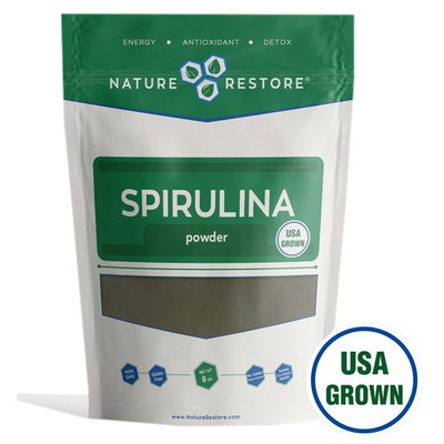 Nature Restore Spirulina Powder, California Grown and Harvested, 8 Ounces, Non-GMO
